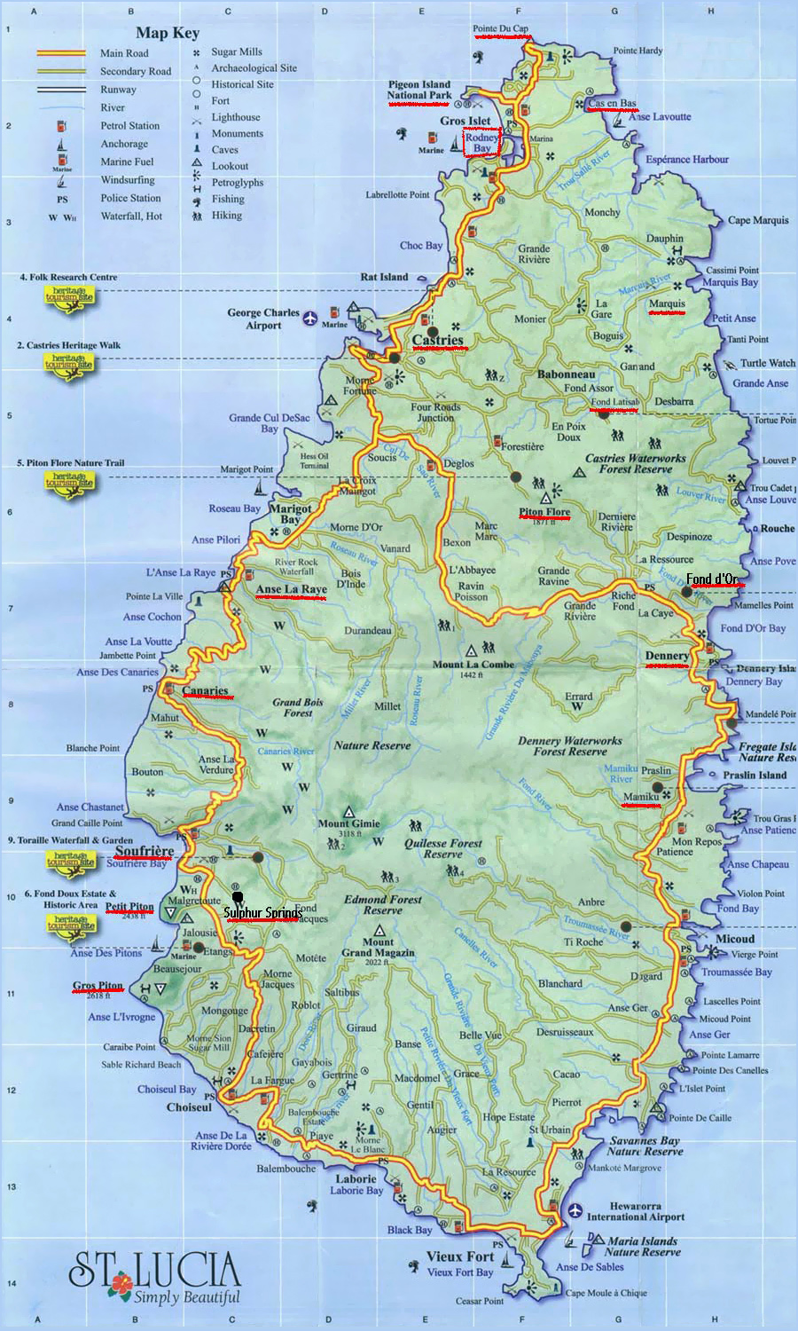 Map Of St Lucia Road Map Map Of St Lucia